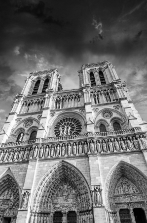 Black and White dramatic view of Notre Dame Cathedral in Paris photo