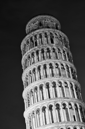Architectural Detail of Pisa Leaning Tower by Night Stock Photo - 15027695