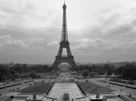 Dramatic Black and White view of Eiffel Tower in Paris Stock Photo - 15022845
