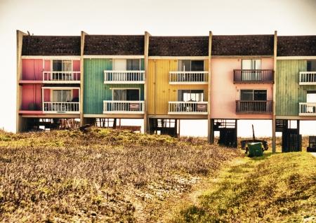 u s a: Colorful Homes on the Sea near Galveston, Texas - U S A