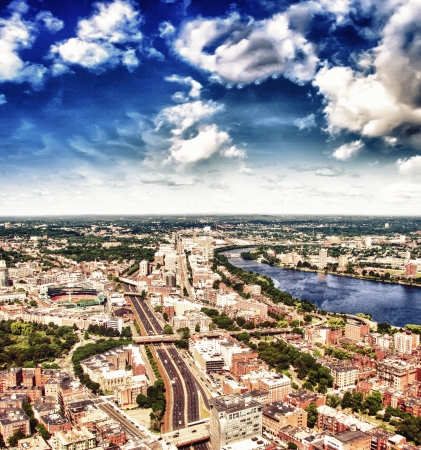 Boston Aerial view with cloudy sky, Massachusetts, USA photo