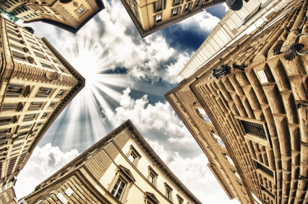 Geometric shapes of Typical Buildings in Tuscany, Italy - Wide Angle upward view photo