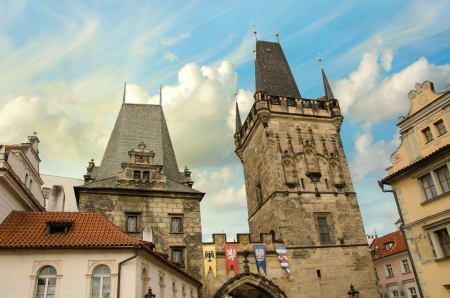 Dramatic sky above Prague and its landmarks, Czech Republic photo