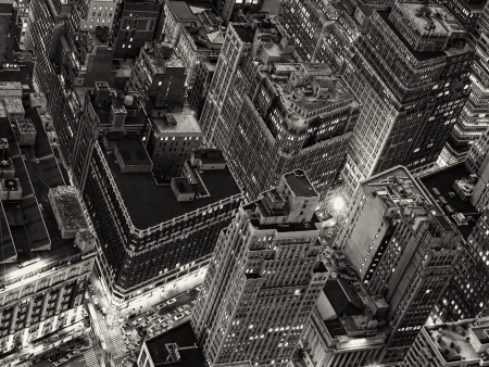empire: Night View of New York City from Empire State Building Stock Photo