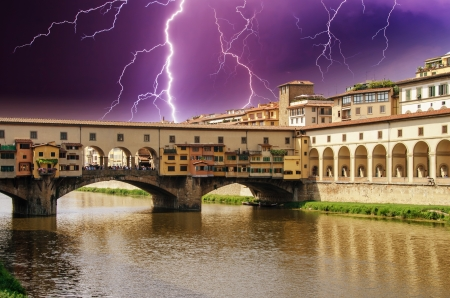 Colors of Florence in Spring, Ponte Vecchio view, Italy photo