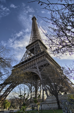 The Eiffel Tower in Paris shot against a blue winter sky - France photo