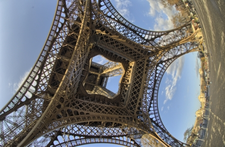 unusual angle: Unusual wide angle view inside the center of the Eiffel tower in Paris - France