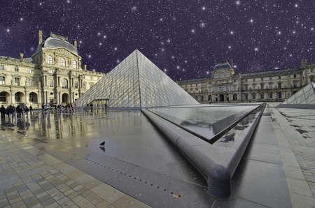 Starry Night over Paris, France