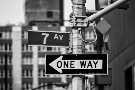 ways: Classic Street Signs in New York City, U.S.A. Stock Photo
