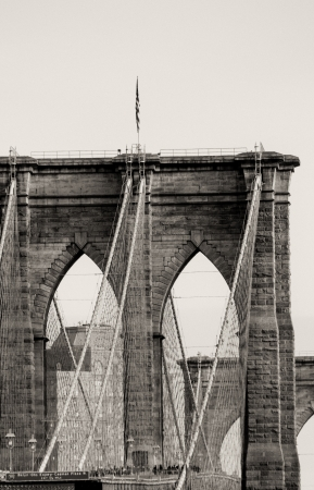 u s a: Architectural Detail of Brooklyn Bridge in New York City, U S A
