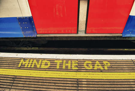 gaps: Mind the gap, warning in the London underground - UK