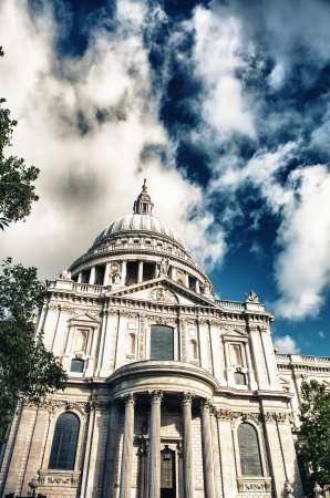 St Paul's cathedral in London and sky with clouds. photo