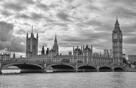 palace of westminster: London, UK - Palace of Westminster  Houses of Parliament  with Big Ben clock tower and Westminster bridge over Thames river  Stock Photo