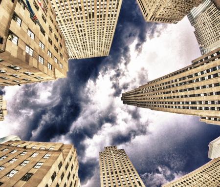 u s a: Upward view of Manhattan Office Buildings and Skyscrapers, U S A