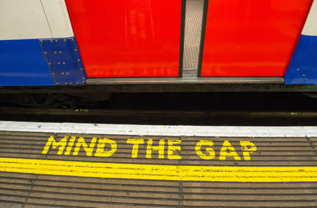 Mind the gap, warning in the London underground - UK