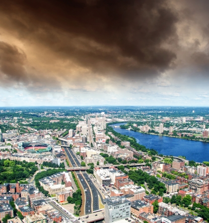 Boston Aerial view with cloudy sky, Massachusetts, USA Stock Photo - 15880265
