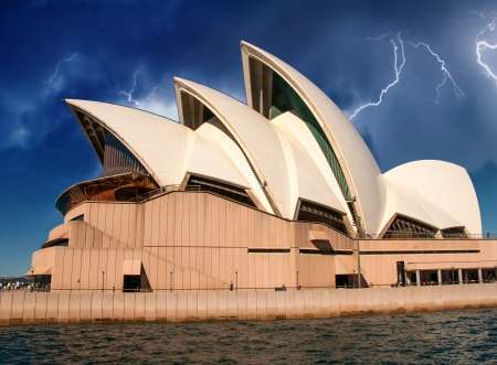 australian scenic: Opera house in Sydney with sky on background, Australia