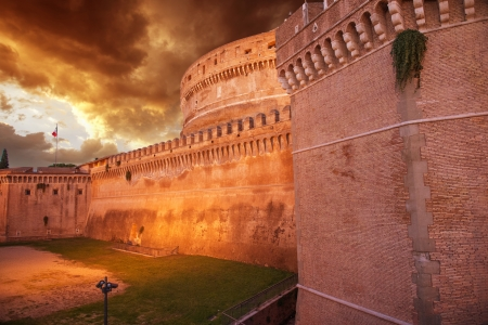 Castel Santangelo at autumn sunset, beautiful side view - Rome