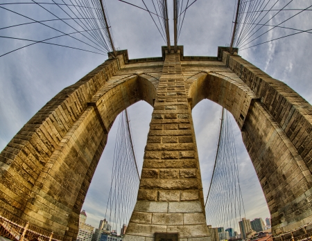 Powerful structure of Brooklyn Bridge in New York City at Winter sunset - wideangle view - USA photo