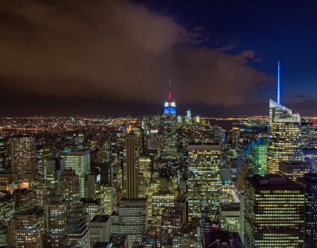 Wonderful night colors and light of Manhattan, New York City - Aerial view - USA photo