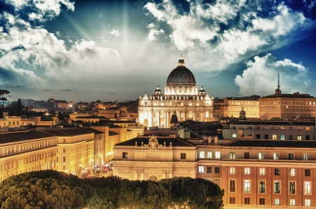 basilica of saint peter: Buildings of Rome with Vatican St Peter Dome in background - sunset view