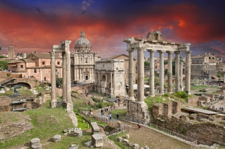 Sunset above Ancient Ruins of Rome - Imperial Forum - Italy