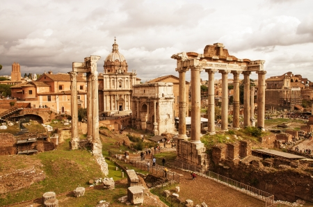 View of Roman Forum, focus on the Saturn Stock Photo - 16322708