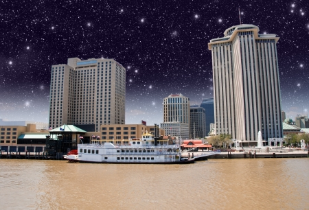 Skycrapers of New Orleans with Mississippi River Stock Photo - 16535671