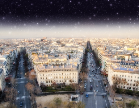 Stars above Paris, Panoramic view from Triumph Arc