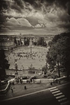 View of Piazza del Popolo from Pincio promenade - Rome.