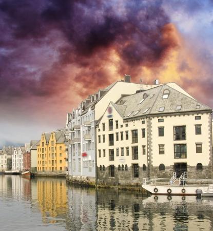 alesund: Small harbor in downtown of Alesund, Norway Editorial