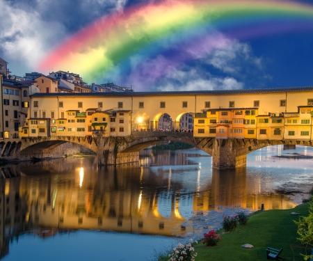 Rainbow in Ponte Vecchio, Florence, Italy