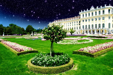 sissy: Sky Colors above Schoenbrunn Castle and Vegetation in Vienna, Austria