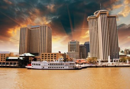 louisiana: Skycrapers of New Orleans with Mississippi River Stock Photo