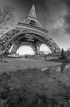Black and White dramatic view of famous Eiffel Tower in Paris, France