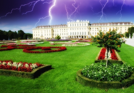 schoenbrunn: Dramatic sky above Schoenbrunn Castle in Vienna, Austria Editorial
