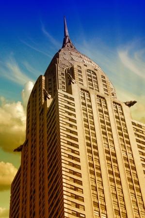 u s a: Skyscrapers of Manhattan at Night in New York City, U S A
