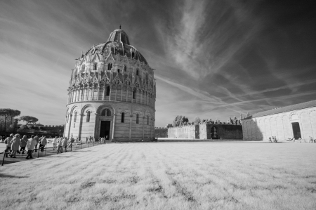 Pisa, Miracles Square. Beautiful view of Baptistery - infrared black and white. photo