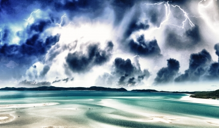 Wonderful colors of Whitsunday Islands on winter season, Australia. photo
