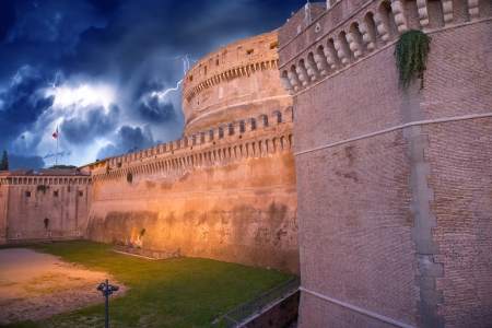 Beautiful sky colors over Castel Santangelo in Rome  Stock Photo - 16585802