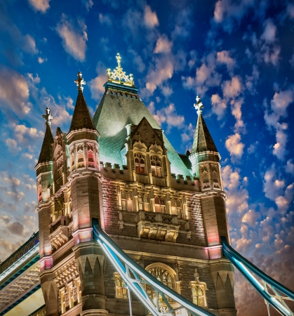 london tower bridge: Beautiful lights of Tower Bridge in London - UK