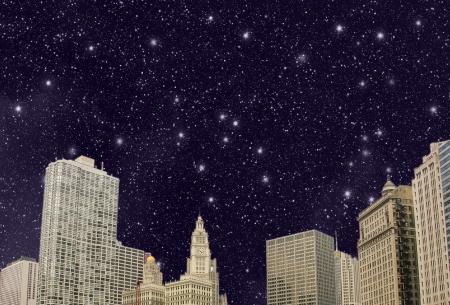 Stars above Chicago Skyline - Illinois - USA Stock Photo - 16729610