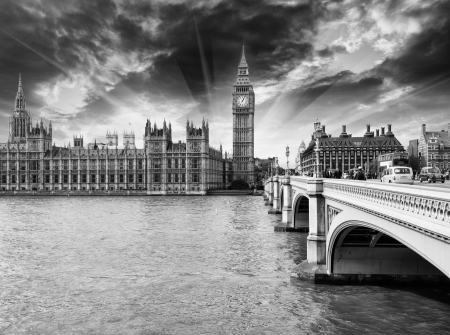 Beautiful view of Houses of Parliament, Westminster Palace and Bridge - London. Stock Photo - 16823879