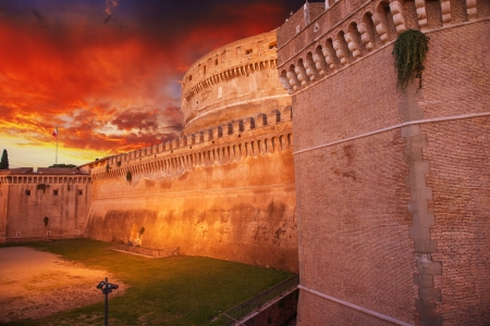 Castel Santangelo at autumn sunset, beautiful side view - Rome.