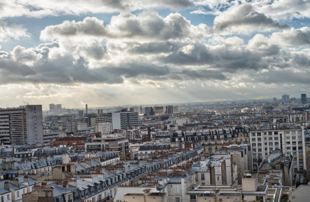 Wonderful aerial view of Paris from the top of Eiffel Tower - Winter Season. photo