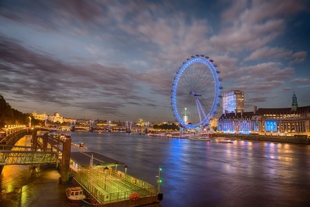 River Thames with London Eye at Night - UK