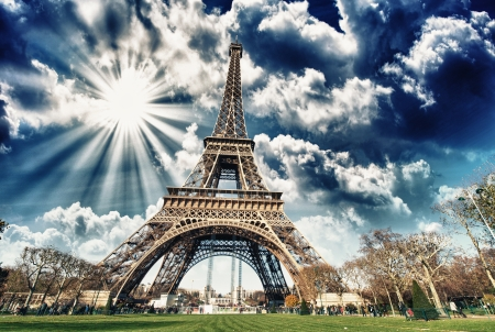 the magnificence: Wonderful view of Eiffel Tower in all its magnificence - Paris. Stock Photo