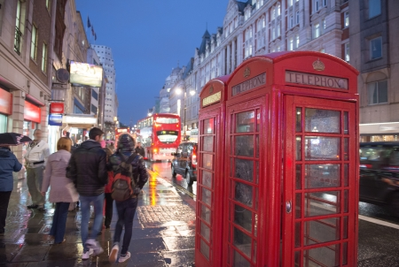 Red Telephone Booth on a classic London Street - UK