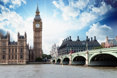united kingdom: The Big Ben, the Houses of Parliament and Westminster Bridge in London.