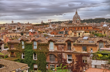 Panoramic view of Rome from Pincio Promenade, St Peter Square on background  Stock Photo - 17003620